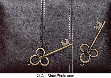 Vintage door key on a leather