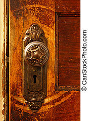 a close up of a vintage door knob on a wooden door