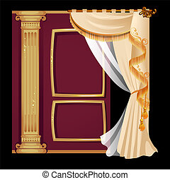 Vintage door with a curtain with gold ornaments isolated on a black background. Vector illustration.
