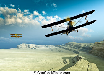 Vintage double wing Biplanes chasing each other along the ...
