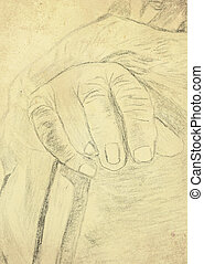 vintage drawing hand