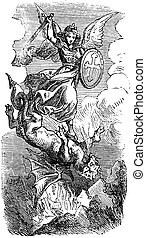 Vintage Drawing of Biblical Archangel Michael Fighting With Satan as Dragon