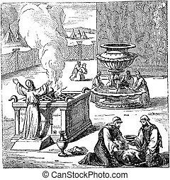 Vintage Drawing of Biblical Israelites Offering or ...
