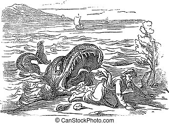 Vintage Drawing of Biblical Prophet Jonah Vomited by Big Fish. Old Man and Big Water Monster. Bible, Old Testament, Jonah 2