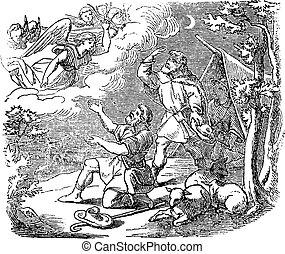 Vintage Drawing of Biblical Story of Angel Speaking to Shepherds Near Bethlehem about Birth of Jesus. Bible, New Testament, Luke 1