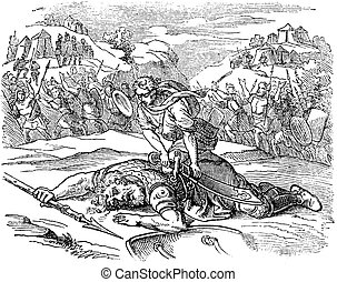 Vintage Drawing of Biblical Story of David and Goliath. Small Man Defeated Big Warrior on Battlefield.