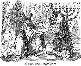 Vintage Drawing of Biblical Story of Elkanah and His Wife...