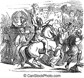 Vintage Drawing of Biblical Story of Israelites Attacking ...
