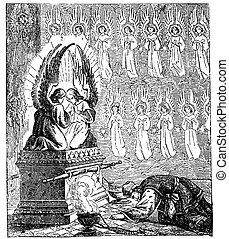 Vintage Drawing of Biblical Story of Israelites Creating the...