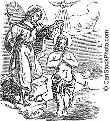 Vintage drawing or engraving of biblical story of John the Baptist baptizing Jesus in Jordan river. Bible, New Testament, Matthew 3. Biblische Geschichte , Germany 1859.