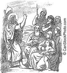 Vintage drawing or engraving of biblical story of John the Baptist baptizing people in the Jordan River. Bible, New Testament, Matthew 3. Biblische Geschichte , Germany 1859.