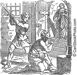 Vintage drawing or engraving of biblical story of John the Baptist beheaded as reward for Salome for her dance. Bible, New Testament, Matthew 14,Mark 6. Biblische Geschichte , Germany 1859.