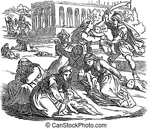Vintage drawing or engraving of biblical story of massacre of innocents. Soldiers are killing babies or infants, mothers are crying. Bible, New Testament, Matthew 2. Biblische Geschichte , Germany 1859.
