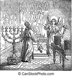 Vintage drawing or engraving of biblical story of the birth of John the Baptist foretold. Angel Gabriel is talking to priest Zechariah in temple of God. Bible, New Testament, Luke 1. Biblische Geschichte , Germany 1859.