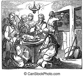 Vintage Drawing of Biblical Story of the Passover, Eastern ...