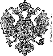 Vintage Drawing of Coat of Arms of Kingdom of Bohemia as part of Austrian Empire