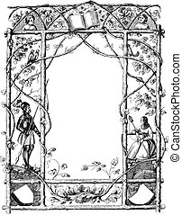 Vintage Drawing of Ornate Frame With Natural Theme and Knight and Woman on Sides