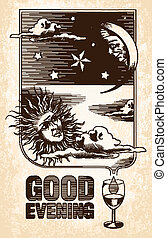 Vintage drawing of the sun, moon and stars. Good evening
