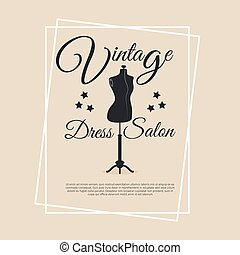 Vintage dress salon logotype with mannequin vector...
