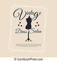 Vintage dress salon logotype with mannequin vector ...