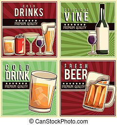 Grunge and vintage drinks and beverage poster  Illustration