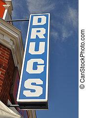 Vintage convenience drugs store sign