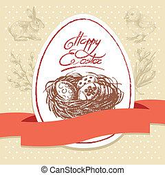 Vintage Easter background, hand drawn illustration. Easter...