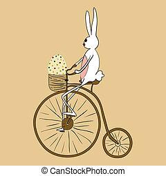 Vintage Easter bunny biking card - Retro Easter bunny biking...