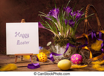 vintage Easter card, spring flowers on a wooden background