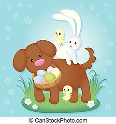 Vintage Easter card with cute puppy, chickens and easter bunny