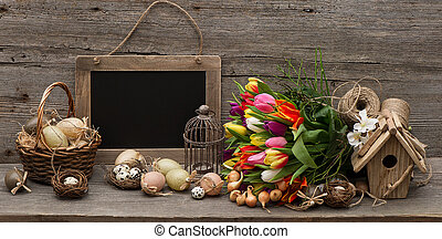 vintage easter decoration with eggs and tulip flowers