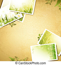 Vintage eco background with nature photos