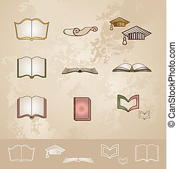 Vintage education icons set