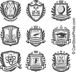 Vintage Educational Coat Of Arms Set