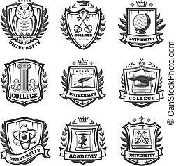 Vintage Educational Coat Of Arms Set