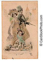 Vintage Edwardian Victorian Postcard - Vintage illustration...