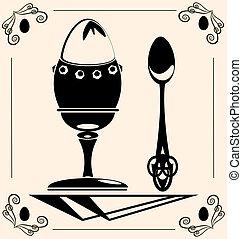 vintage egg - on beige background is black vintage egg with...