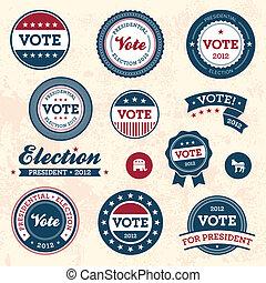 Set of vintage retro 2012 election badges and labels