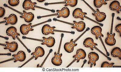 Vintage electric guitar background. 3D illustration