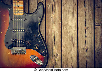 Vintage Electric Guitar Background - A beat up and dirty...