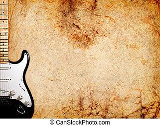 Vintage electric guitar on grunge background