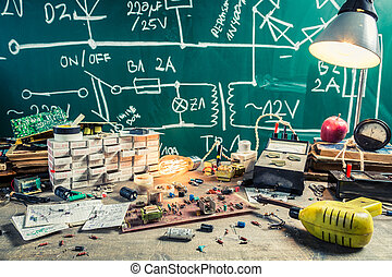 Vintage electronics components in school lab