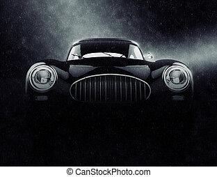 Vintage elegant car in the rain - noir style 3D illustration