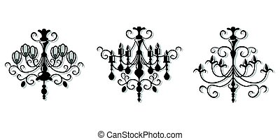 Vintage Elegant chandelier set. Vector Luxury Royal Rich Style decor. Classic lamp illustration sketch
