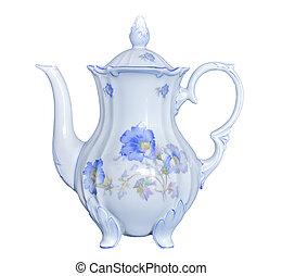 Vintage elegant porcelain tea pot isolated on white background