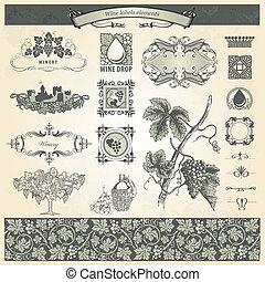 Vintage elements for wine labels - Collection of vintage...