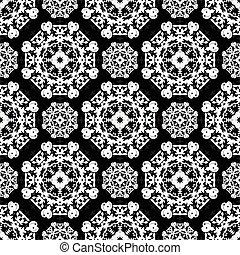 Vintage elements. Monochrome beautiful seamless pattern. Vector illustration