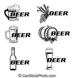Vintage elements of the beer menu set