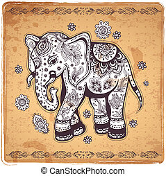 Vintage elephant illustration - Vintage ethnic elephant...