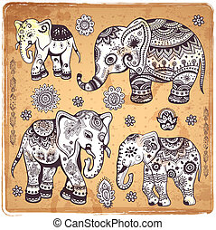Vintage elephant illustration - Vintage set of ethnic...